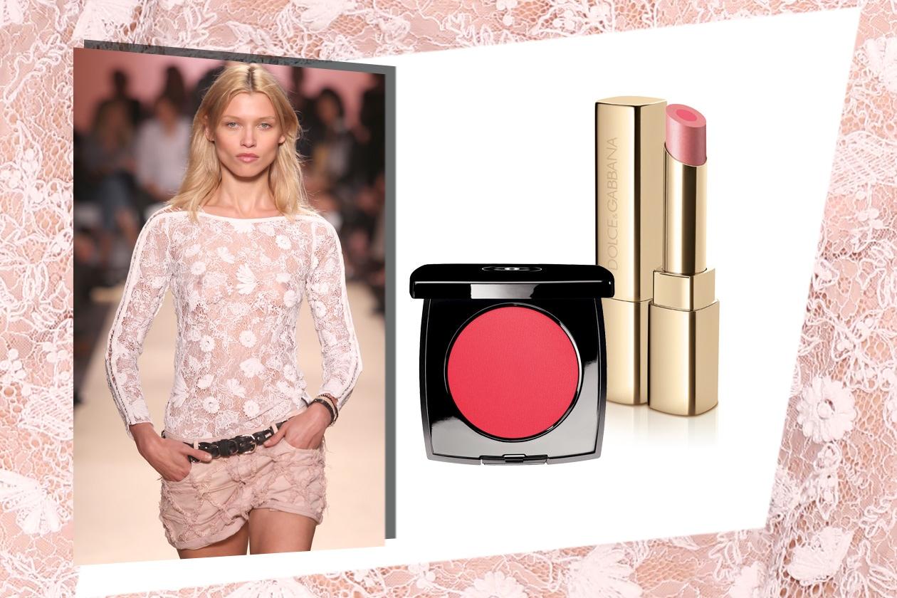 TRASPARENZE: un po' bohemien, un po' rock la proposta di Isabel Marant. I prodotti make up consigliati puntano sul rosa dal più delicato (Dolce&Gabbana – Chanel)