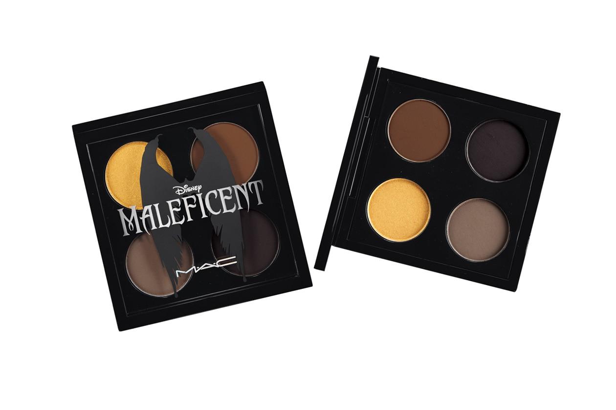 Uno smokey eye in un ipnotizzante melange di marrone scuro, oro tornito e carbone scurissimo con la palette Maleficent Eyeshadow X4 di MAC Cosmetics