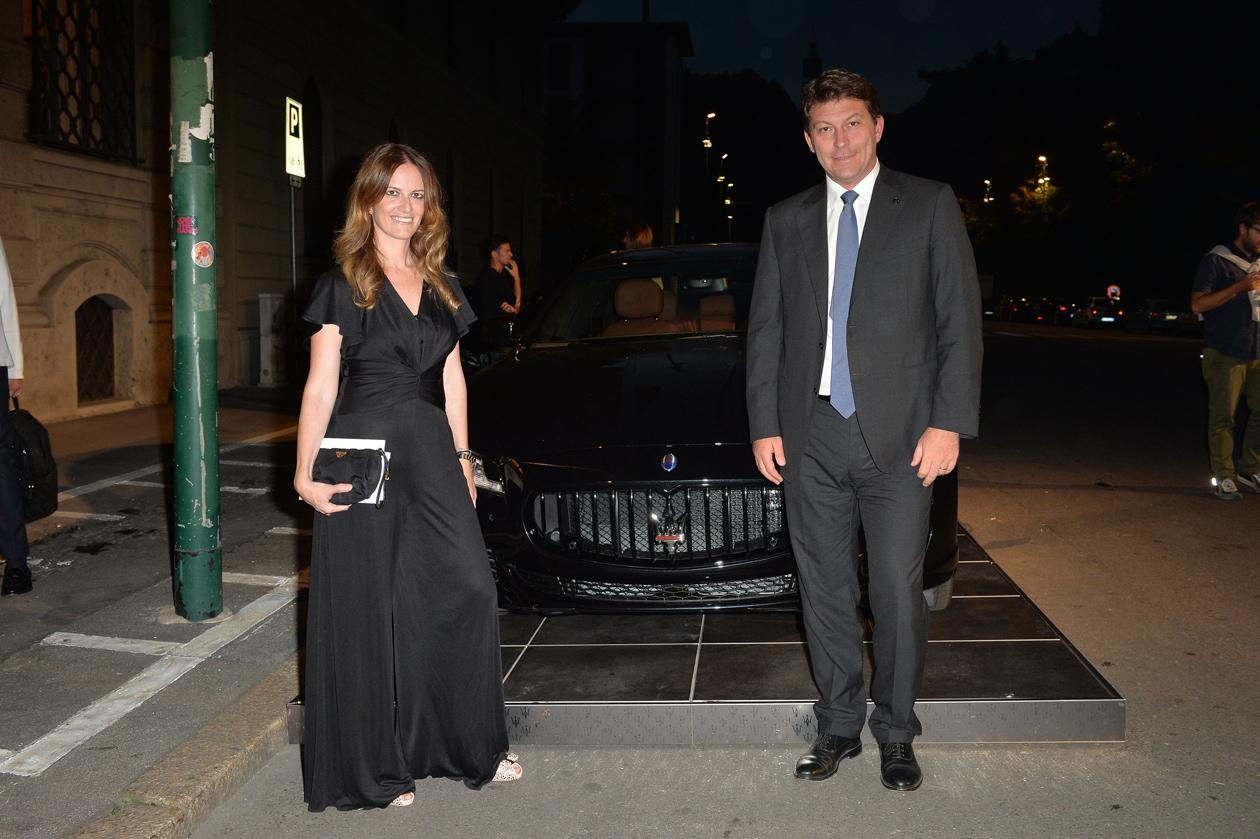 """Maserati partner ufficiale della mostra """"Vogue Archive Celebrating 50th Silvia Pini (Head of Lifestyle PR Maserati), Giulio Pastore (General Manager Europa Maserati)"""