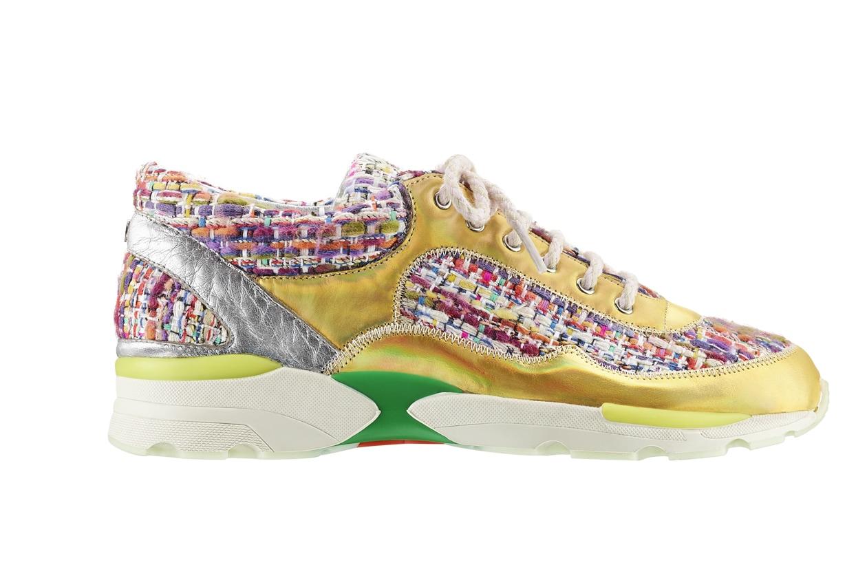 Multicoloured tweed, leather and rubber sneaker Basket en tweed multicolore, cuir et caoutchouc