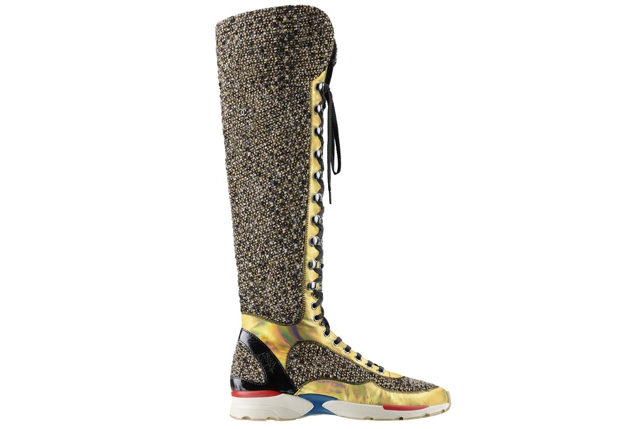 Multicoloured tweed, leather and rubber sneaker Basket multicolore en tweed, cuir et caoutchouc