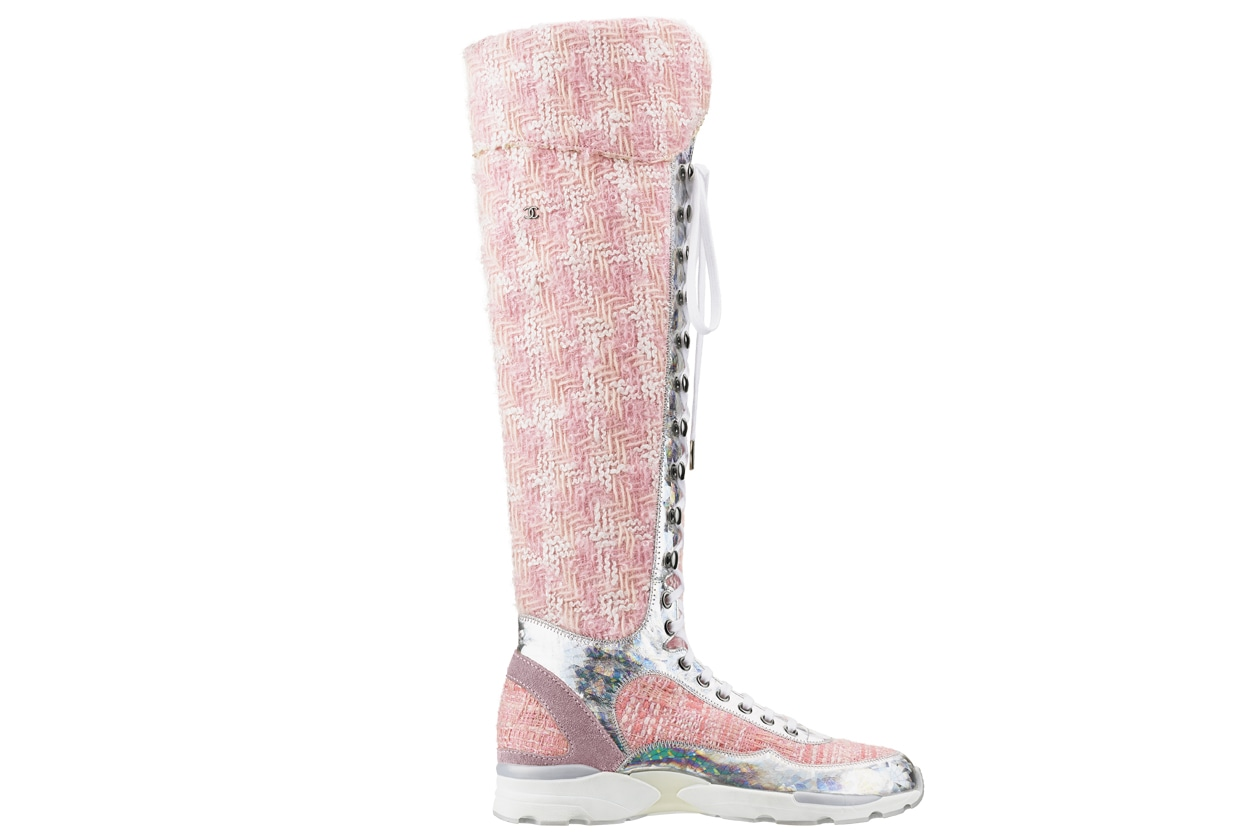 Pink and white tweed and rubber sneaker Basket en tweed rose et blanc et caoutchouc