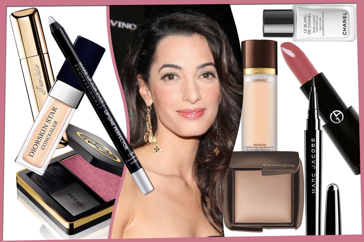 Amal Clooney: trucco con incarnato bonne mine e labbra rosate