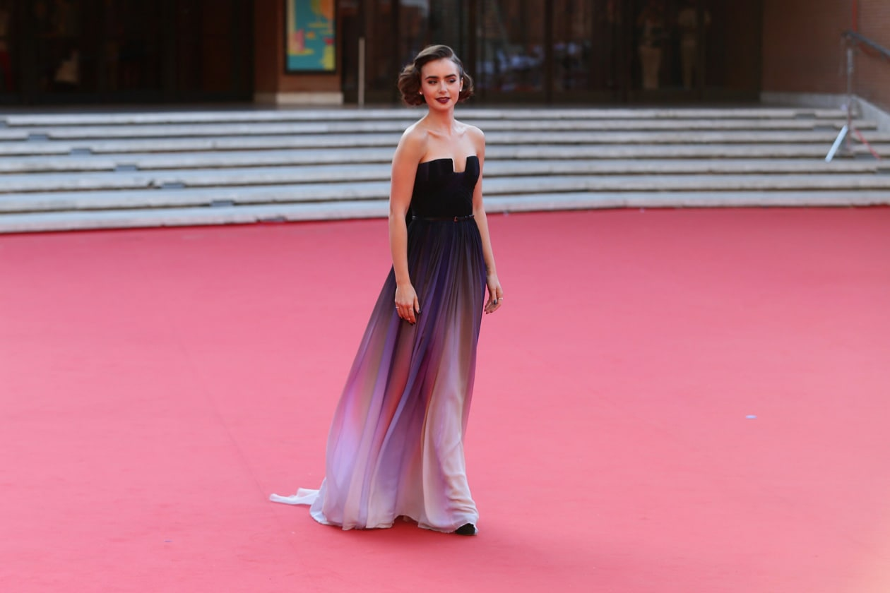 LILY COLLINS IN ELIE SAAB COUTURE getty