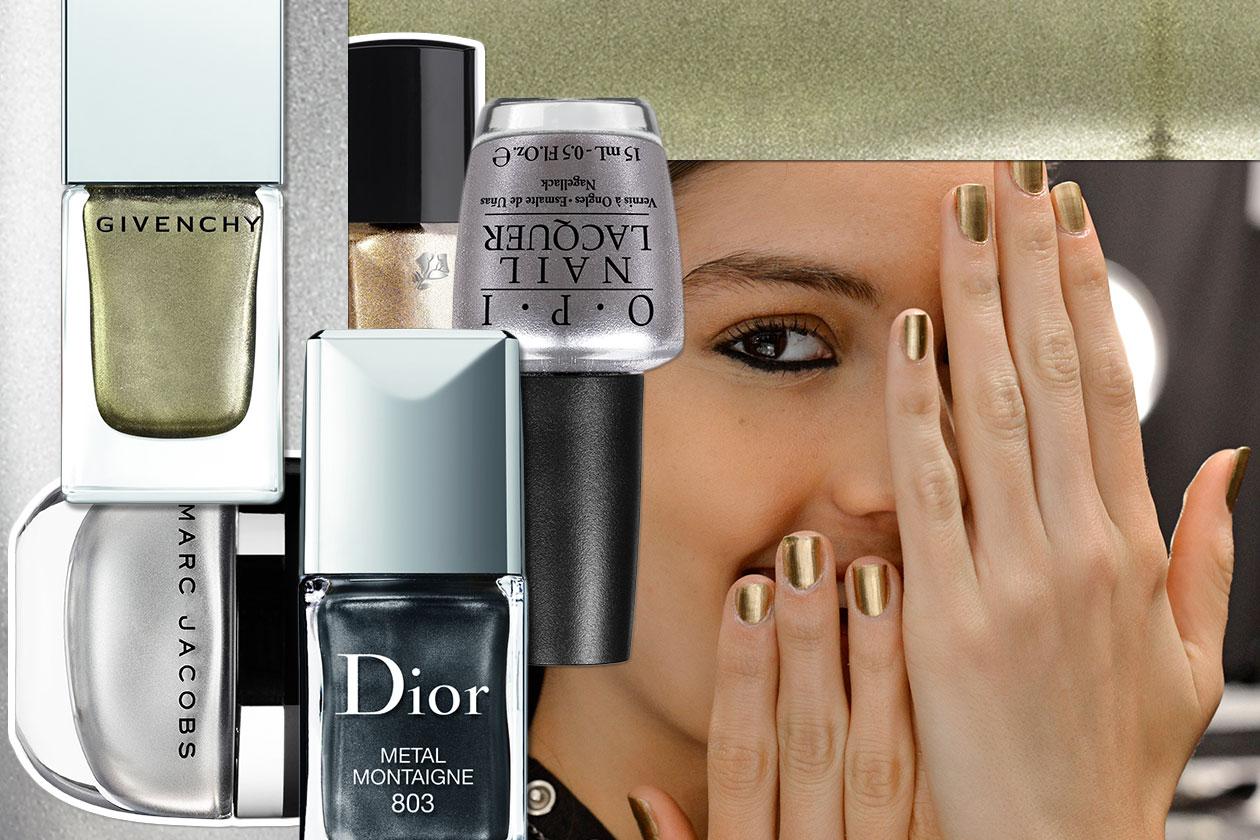 La manicure è metal per l'inverno 2015: scegliete la vostra nuance dall'oro all'argento fino al bronzo e all'acciaio con la selezione di Grazia.IT