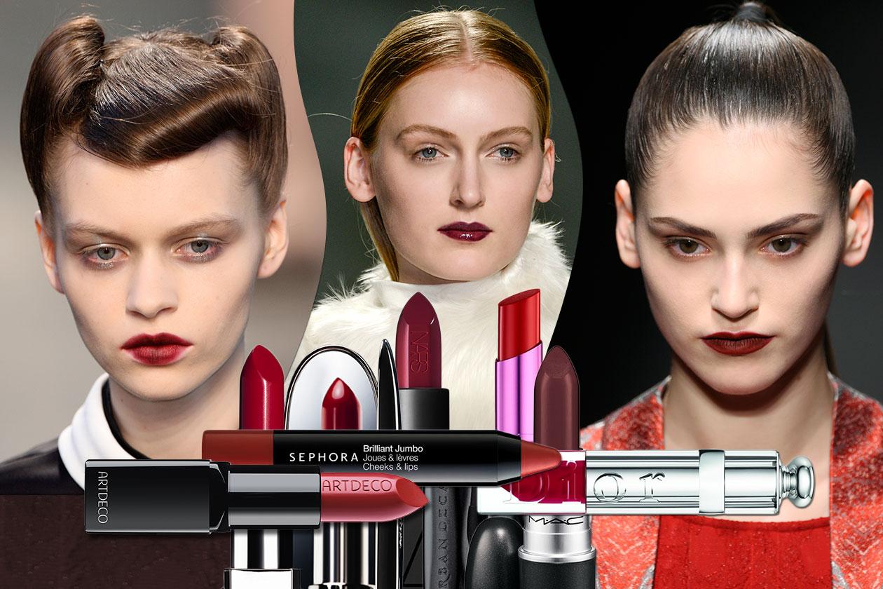 Le labbra si tingono di rosso scuro: è la tendenza dell'autunno 2014 ispirata alle passerelle A/I 2014-15. La selezione di Grazia.IT