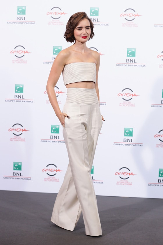 Lily Collins In Pamella Roland getty