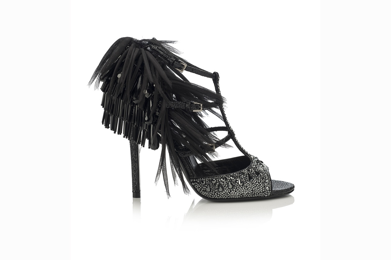 PAIGE SUEDE W HOTFIX PRINTED LEATHER ORGANZA JET