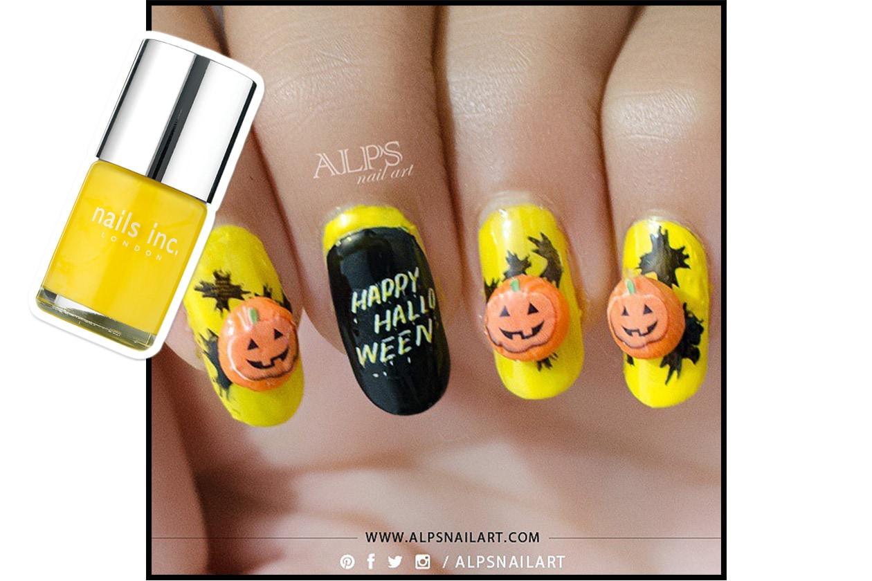 Spooky nails: Jack-o'-lantern