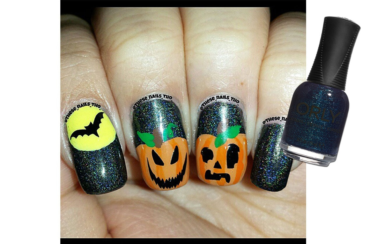 Spooky nails: sparkling night