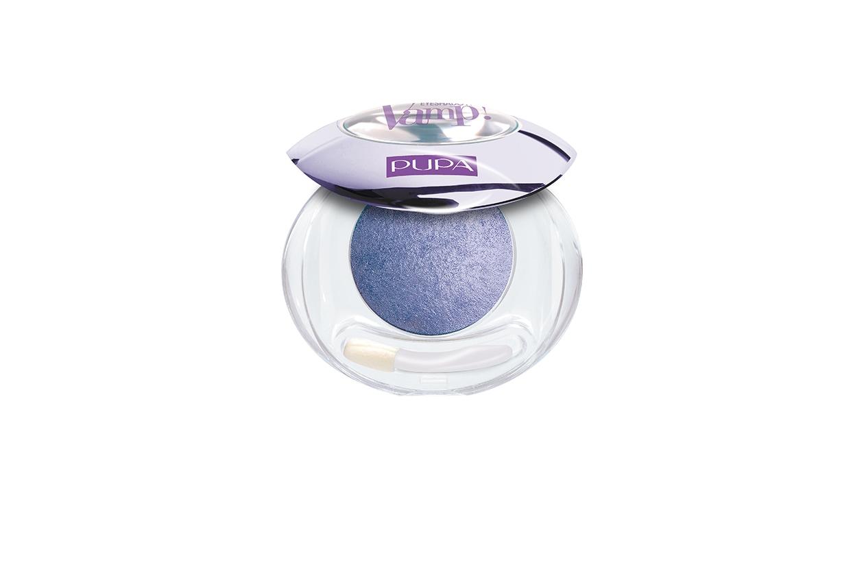 BEAUTY OCCHI DI GHIACCIO Make up occhi azzurro Pupa Vamp Eyeshadow wet&dry 001 Far Northic Lilac