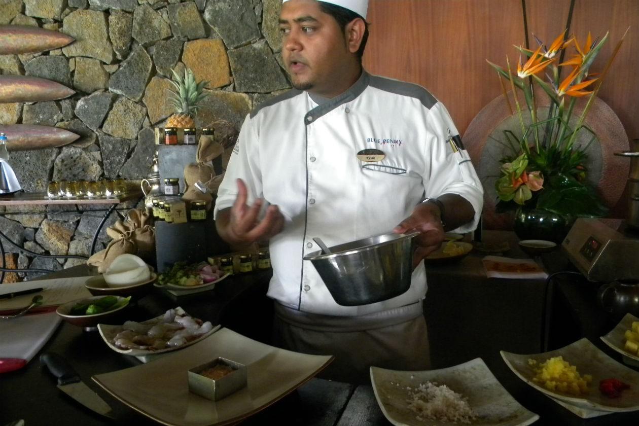 Cooking lesson al Constance Belle Mare Plage con lo chef Kevin del Blue Penny Cafè