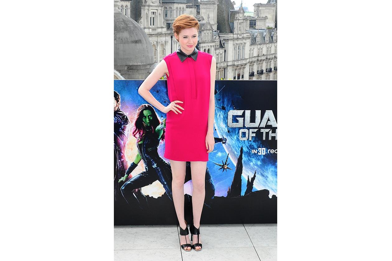 Fashion Paparazzo Karen Gillan Gucci leather collar dress
