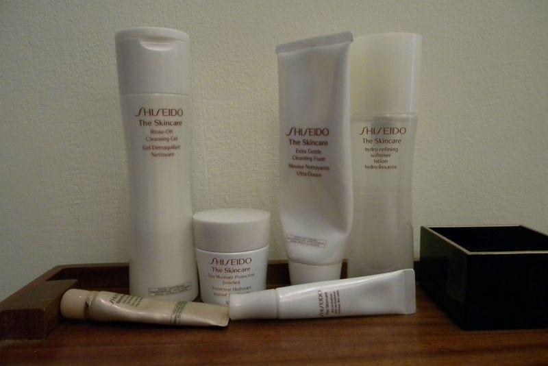 I prodotti utilizzati per il massaggio faciale by Shiseido