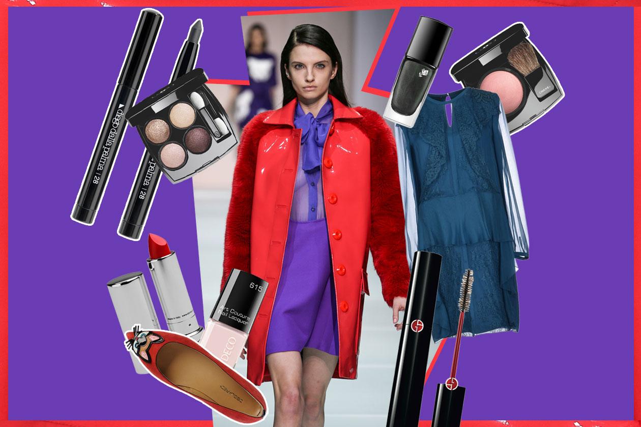 Il make up nude abbinato al cappotto rosso: il beauty look proposto da Grazia.IT