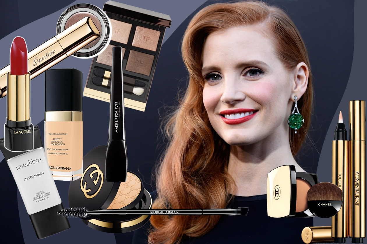 Jessica Chastain beauty look: eyeliner nero e rossetto rosso