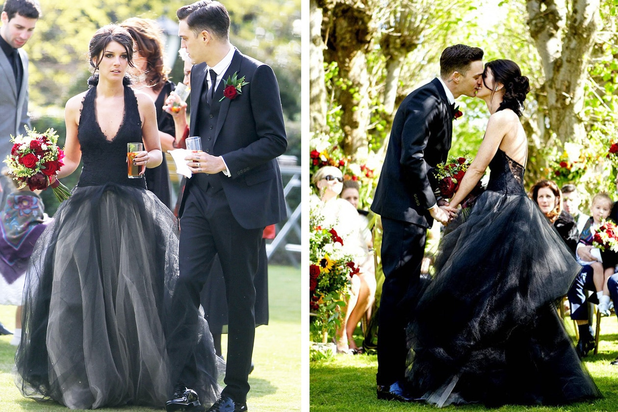 Shenae Grimes donned black Vera Wang wedding gown marry Josh