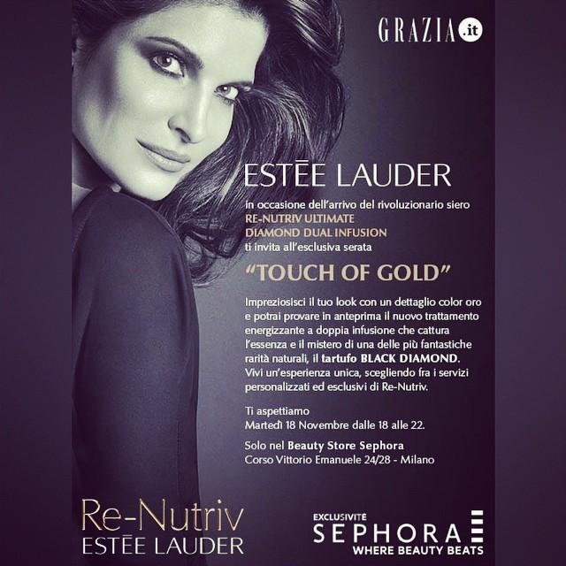 """Il team di @Grazia.it vi aspetta dalle 18 in poi al podio @Esteelauderit da Sephora per la serata """"A touch of gold"""" #grazia4renutriv #esteelauder #sephora #makeup #skincare"""
