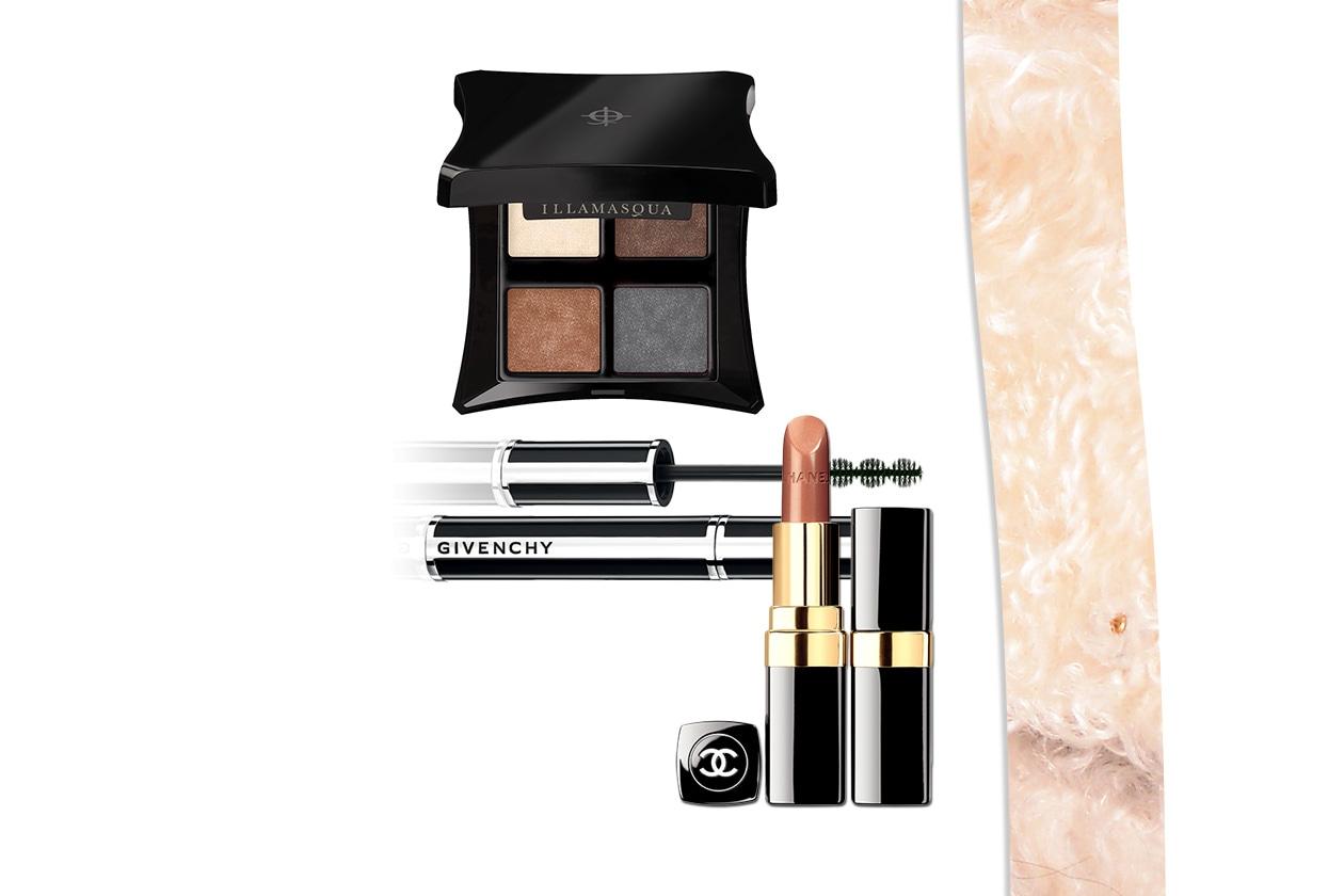 Il make up di Rachel è ideale per chi ha capelli con riflessi rossi e occhi nocciola (Illamasqua – Givenchy – Chanel)