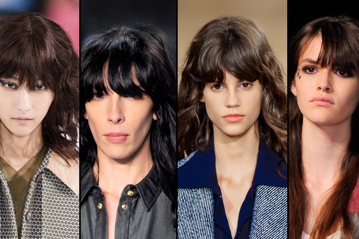 La frangia: lunga tanto da coprire gli occhi su capelli lunghi e morbidi per la P/E 2015