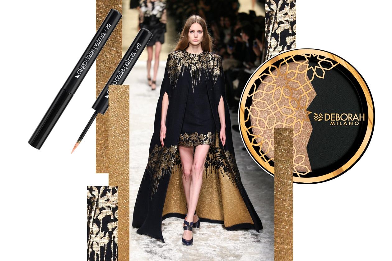 Metallic make up: black and gold