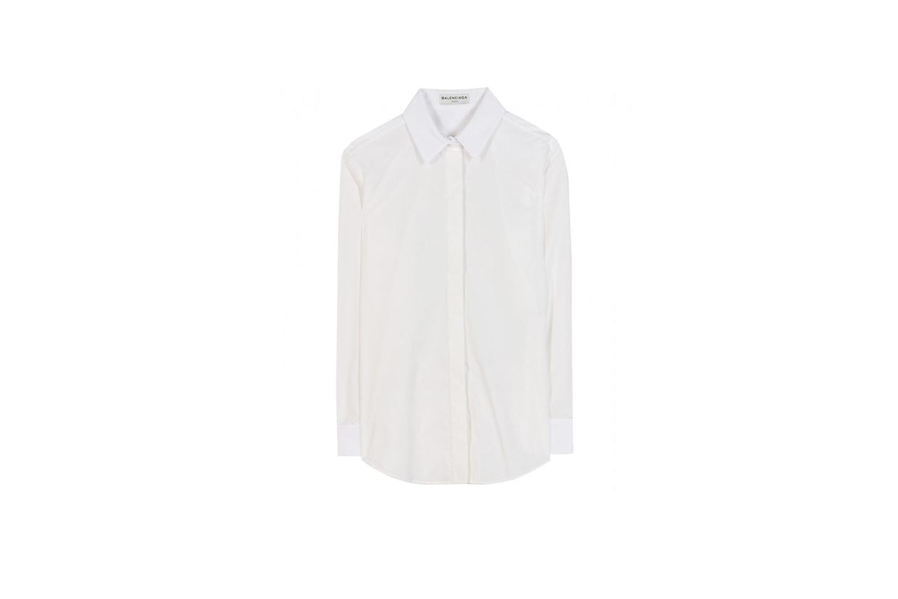 Trucco smokey eyes e camicia bianca: Balenciaga Cotton Blend Sshirt