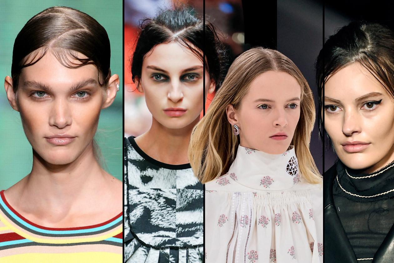 Tutte in riga: centrale su capelli lasciati liberi o effetto zig-zag per raccolti geometrici