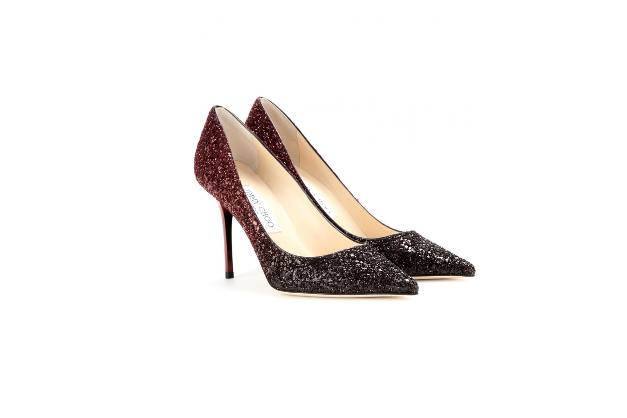 jimmy choo mytheresa Agnes glitter covered leather pumps STANDARD