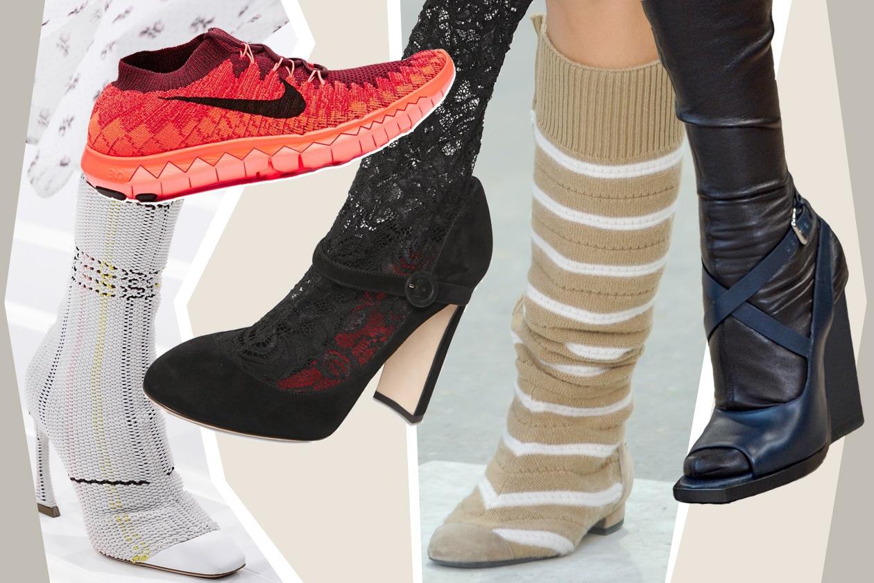 CALZINI EFFETTO trompe-l'œil: si mimetizzano con la scarpa oppure sono parte integrante della stessa