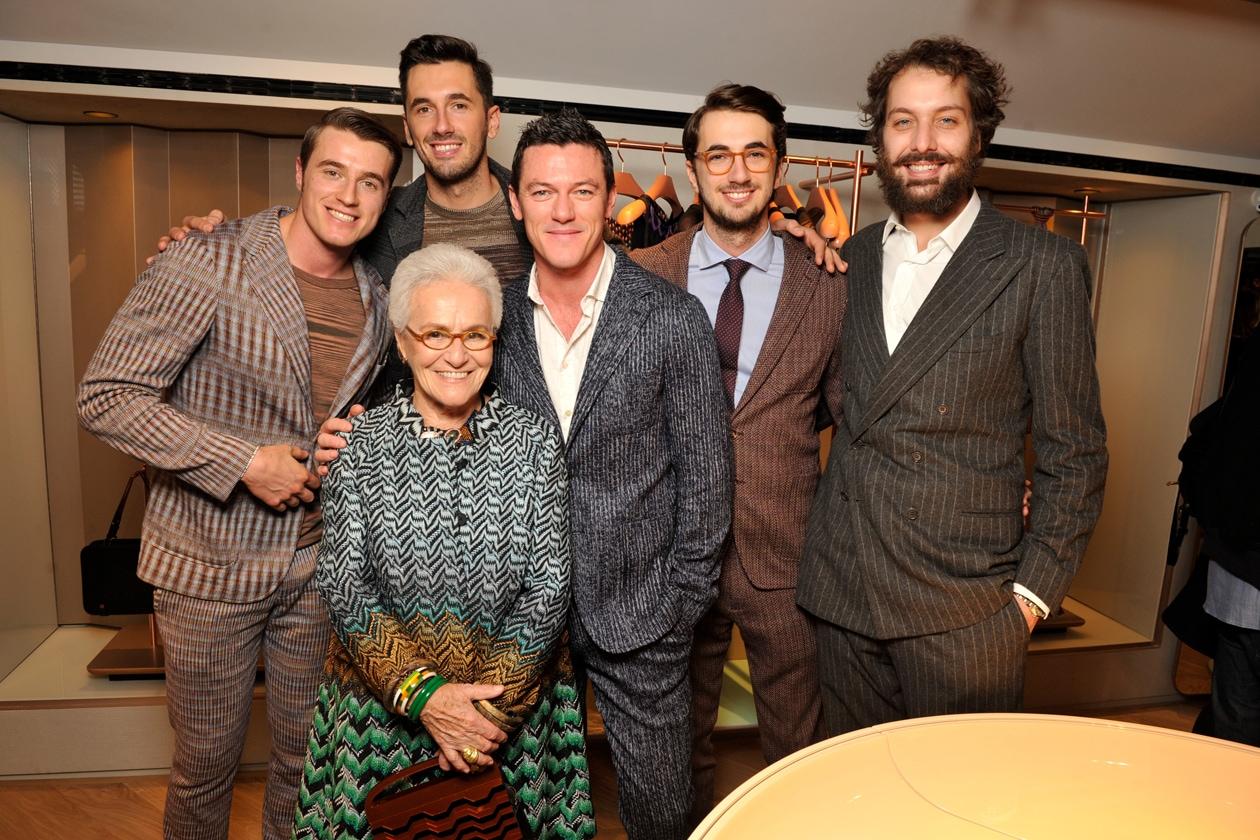 Giacomo & Ottavio & Marco Missoni & Francesco Maccapani Missoni with Rosita Missoni & Luke Evans
