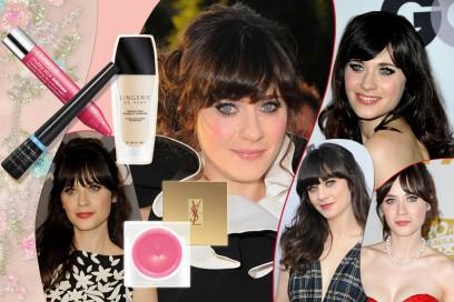 Zooey Deschanel beauty look: occhi da bambola e rossetto rosa