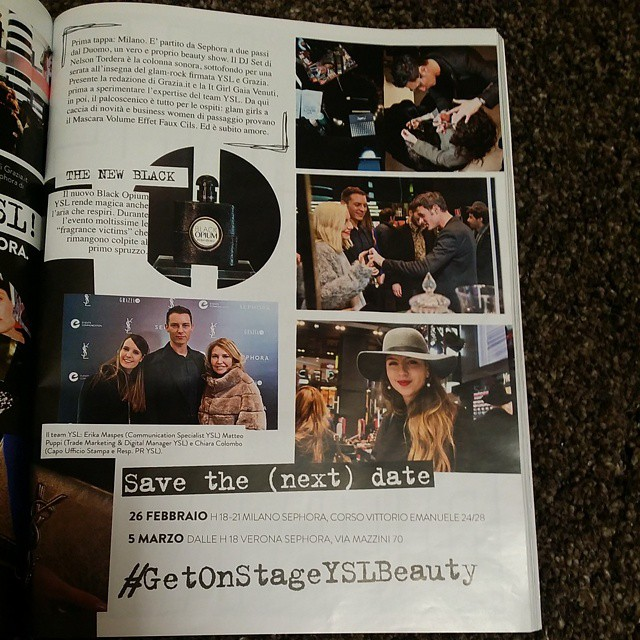 YSL team on Grazia @m_puppi @gourmodeblog @grazia_it #yslbeauty #GetOnStageYSLBeauty ✌ ✌ ✌