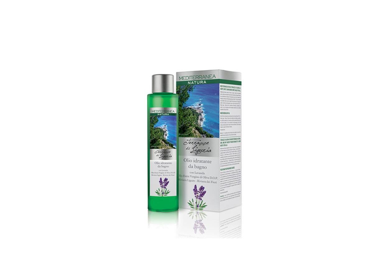 Come preparare un bagno rilassante con prodotti beauty: Mediterranea Natura Terrazze di Liguria Olio Idratante da bagno con Lavanda