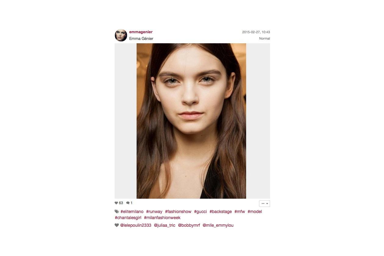 Gucci Autunno/Inverno 2015-16: il make up della modella Emma Génier