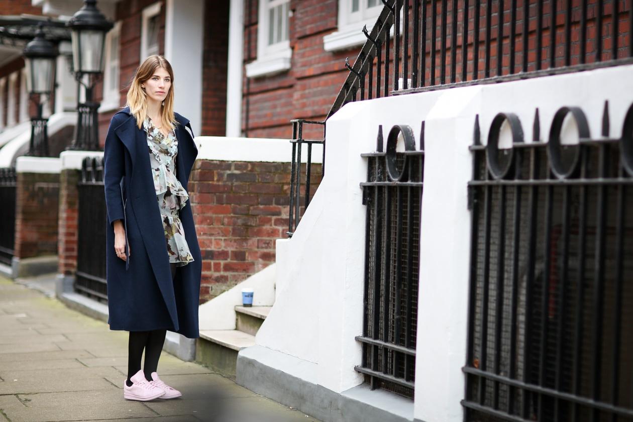 LON AW15 vicki erdem dress, acne studios coat, sneakers adidas by raf simons