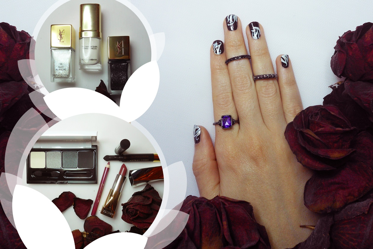 Nail Art Primavera 2015: 4. Dark Flowers