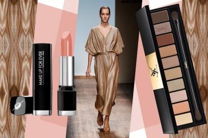 Abiti oro e make up: Salvatore Ferragamo
