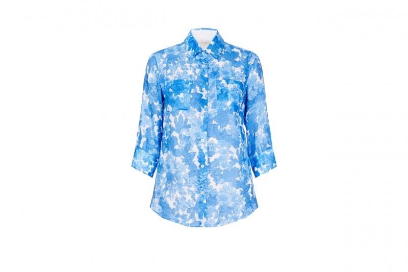 Camicia con stampa floreale in turchese