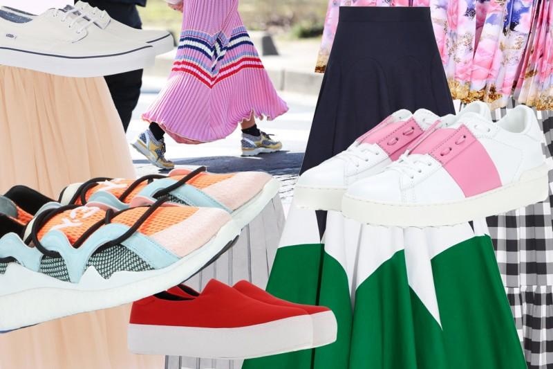 Come abbinare gonne lunghe a sneakers