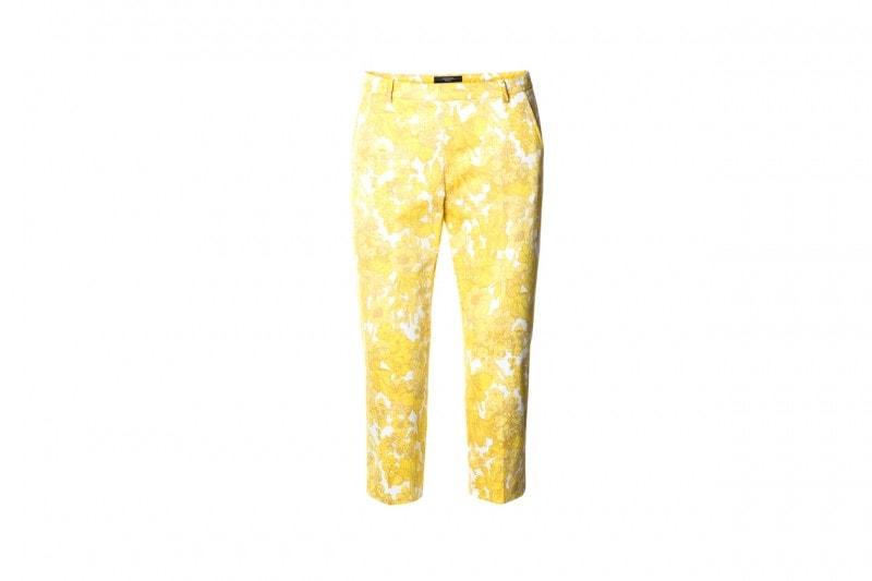 Pantaloni con stampa floreale in giallo