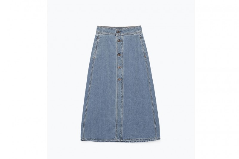 gonna denim con bottoni: ZARA