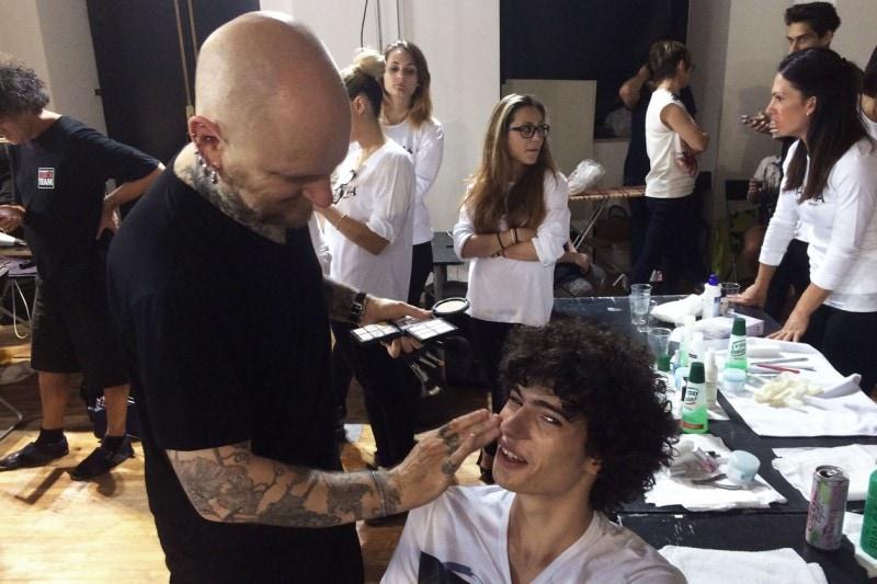 Backstage sfilata MSGM: make up firmato MAC Cosmetics