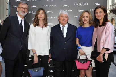 Jean Cassegrain (CEO Longchamp), Vittoria Puccini, Philippe Cassegrain (Fondateur Longchamp), Tatiana Luter, Sophie Delafontaine (Directrice artistique Longchamp)