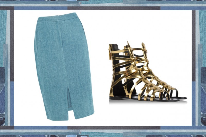 MIX & MATCH: GONNA IN JEANS ADAM LIPPES + SANDALI DA GLADIATORE GIUSEPPE ZANOTTI