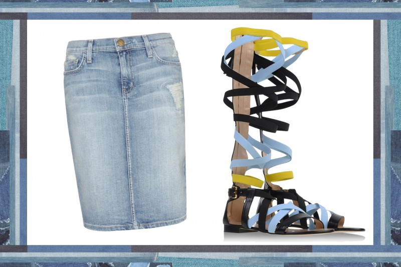 MIX & MATCH: GONNA IN JEANS CURRENT ELLIOTT + SANDALI DA GLADIATORE MSGM
