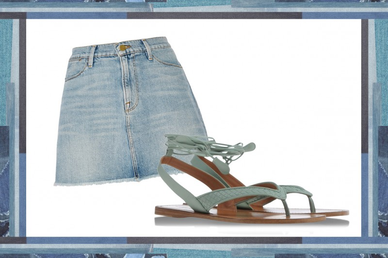 MIX & MATCH: GONNA IN JEANS FRAME DENIM + SANDALI DA GLADIATORE BOTTEGA VENETA