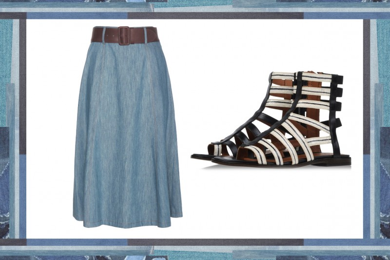 MIX & MATCH: GONNA IN JEANS MIU MIU + SANDALI DA GLADIATORE THAKOON ADDITION