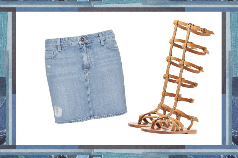 MIX & MATCH: GONNA IN JEANS PAIGE + SANDALI DA GLADIATORE K. JAQUES