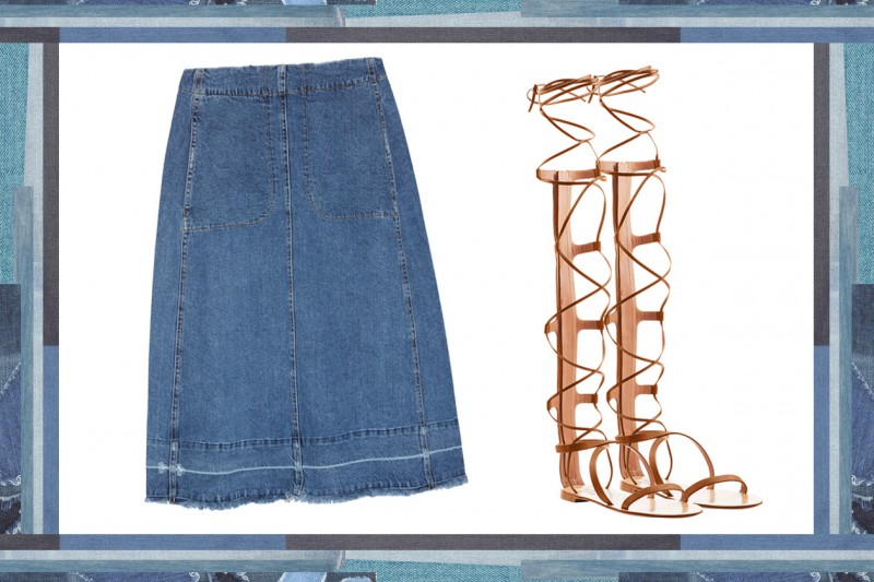 MIX & MATCH: GONNA IN JEANS SEA + SANDALI DA GLADIATORE VALENTINO