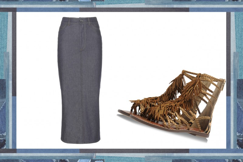 MIX & MATCH: GONNA IN JEANS VICTORIA BECKHAM DENIM + SANDALI DA GLADIATORE SAM EDELMAN